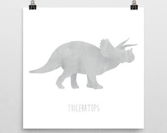Dinosaur Nursery Print – Grey Triceratops