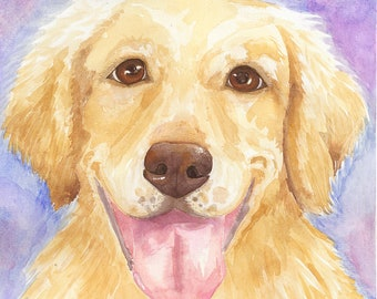 Golden Retriever Original Watercolor Print, Realistic