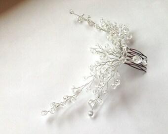 Wedding Hair Comb, Bridal Crystal Hair Comb, Bridal Headpiece, Flower Hair Comb, Crystal & Hair Comb, Bridal Head Piece