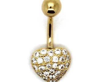 14K Yellow Gold Pave Cluster Heart Belly Ring with CZ