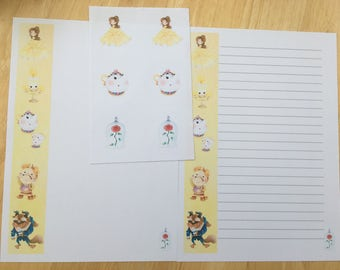 Beauty & the Beast letter paper writing set and envelope seals