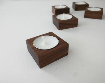Tiny Walnut Wood Tea Candle Holder-Set of five with candles