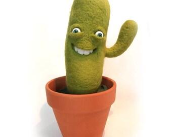 Happy cactus felt,  needlefelting
