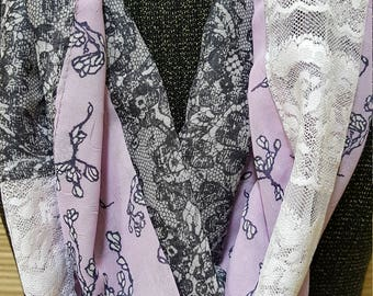 Purple, grey, and white Women's Infinity All Daywear Scarf