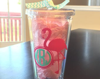 Monogrammed Tumbler with straw, flamingo, insulated cup
