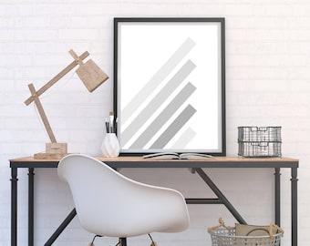 Grey Stripes Print, Minimalist Poster, Modern Printable Download, Monochrome Art, Geometric Print, Black & White Home Decor