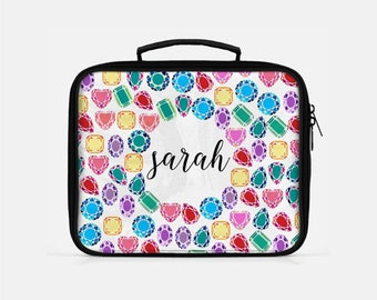 Custom Lunch Box, Diamonds Lunch Box, Colorful Lunch Box, Bling Lunch Box, Monogrammed Lunchbox, Lunch Box for Women, Lunch Box Adult