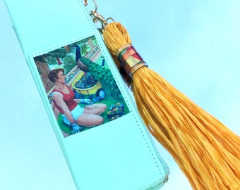 Patience and Plunder MiniBag in Mint with Yellow, Synthetic Grass Tassel