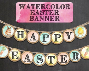 DIGITAL Watercolor Easter Banner, Bunting