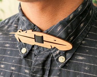 Laser Cut Feather Wooden Bow Tie