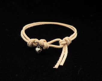 Natural Leather Bracelet with Sterling Silver Heart Charm