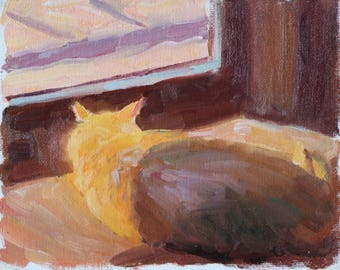 Original 6x8 Oil Painting Cat Nap Interior Painting Cat Sleeping On Window Windowsill Gold Sunlit Interior Scene Cat By Window Impressionist