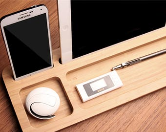 Witty Novelty Wood Desk Organizer Tablet Cell Phone Holder Unique Docking Station Wood Tech Gift