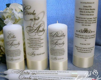 wedding ceremony set monogram unity candle set family candles wedding memorial candle