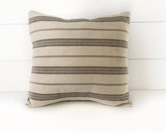 Beige Striped Square Pillow with Insert