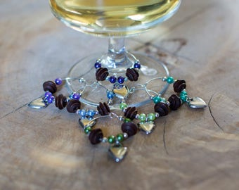 Wine Glass Charms, Rustic Wine Glass Charms.