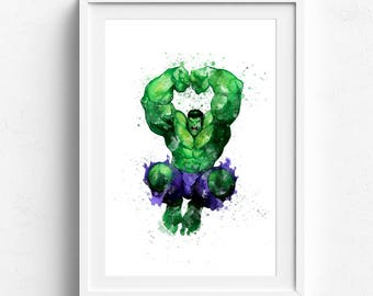 Superhero wall art, superhero download, hulk poster, hulk birthday, hulk wall decor, hulk watercolor, hulk birthday decor, marvel hulk