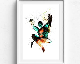 Nightcrawler art, nightcrawler print, nightcrawler poster, xmen poster, fine art print, wolverine art, superhero wall art cartoon wall decor