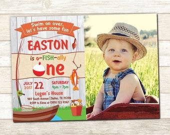 Fishing Birthday Invitation - Fishing Photo Birthday Invite - O-fish-ally Birthday invitation - First Birthday invite - 1st Birthday Party