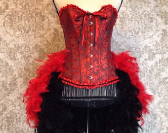 SALE PRICE Red and Black Feathered Corset Costume
