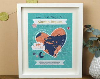 Miles From Mecca New Baby Framed Print- Islamic Personalised New Baby Boy and Baby Girl Print Framed - New Baby Islamic Gift