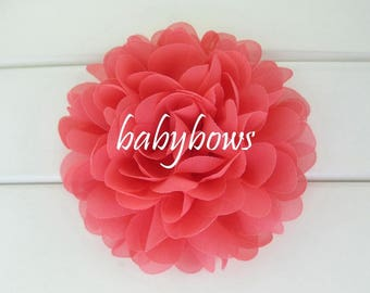 2 Coral Big Flower Baby Girl Flower Hair Clips 1 Pair