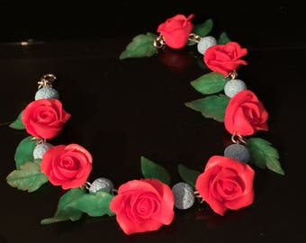 Red flower bracelet, red rose bracelet, women's bracelet, link bracelet, leaf bracelet, chain & link bracelet, free shipping, polymer clay