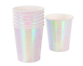 Iridescent Party Paper Cups ,Party Cups ,Holographic party Cups ,party paper cups, paper cups, Mermaid party, Unicorn Party, Iridescent Cups