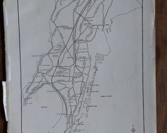Antique map of Bombay