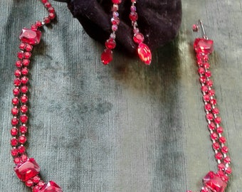 Vintage Red Rhinestone Necklace and Earring Set