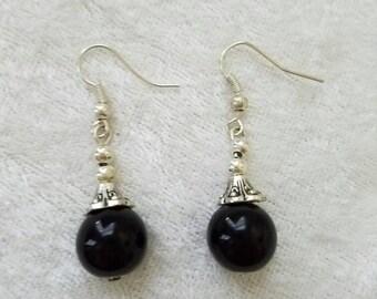 The Blackest Pearl Earrings, Black Pearl Earrings, Silver Earrings, Minimalist Earrings, Silver Pearl Earrings, Classic Earrings