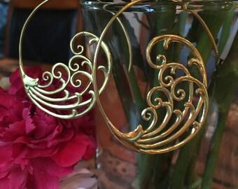Brass Wave Earrings