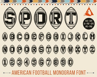 Football Svg Football font Svg Football Monogram Svg Football Monogram font Svg, American Football, Letters in Ball, Sport Initials Svg Dxf