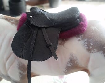 1:9 Scale Model Horse Half Pad - Burgundy and Pink