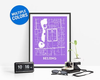Beijing Full Color Map Print | Beijing China Map | Beijing Art