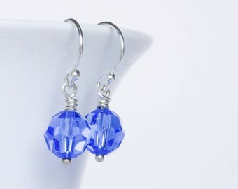 Sterling silver and blue Swarovski crystal earrings
