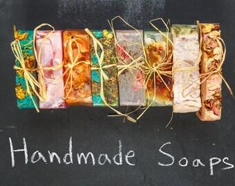 5 Homemade, Organic, Vegan Soap Flavor Sample Pack | Coconut Oil, Aromatherapy Soap | Shea Butter, Vegan Soap | No Waste, Plant-based Soap