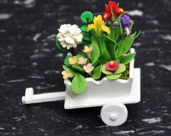 Dollhouse Miniature Handmade Clay Flower Garden in a Miniature Flower Cart. Premium Quality Beautiful Flower Design.