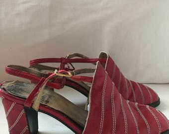 70s Red Slingback Shoes with chevron stitching! 7/7.5