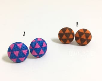 Triangle fabric covered button earrings/ fabric button earrings