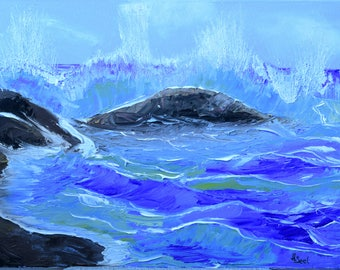 Shaft, oil painting, oil painting, sea, stones