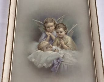 Vintage Baby and Guardian Angels Framed Picture