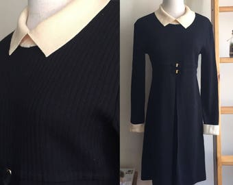 Vintage Peter Pan collar dress, vintage black dress, long sleeve dress, M L