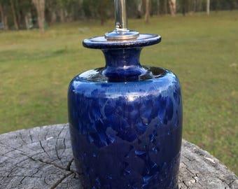 Blue crystal olive oil bottle