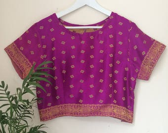 HANDMADE embroidered cropped top made from UPCYCLED Vintage Indian Sari's.