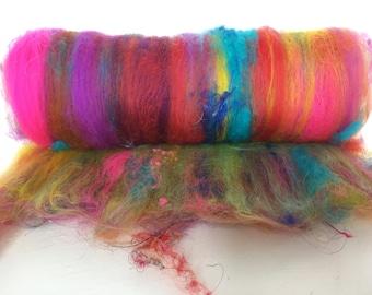 Bright Holi Themed Art Batt, Art Batt, Purple and Pink Batt, Merino and silk batt, Fibre Batt for spinning, Fiber Batt