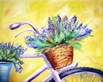 Lavender bicycle. oil oncanvas. handmade painting.