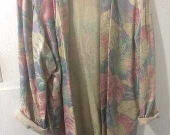 Worn Vintage Pastel Floral Kimono