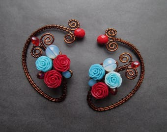 Red blue Rose Ear Cuff  No Piercing Moonstone Earrings Ear Cuffs Rose Earrings Wire Jewelry Wire wrapped ear cuffs Jewelry
