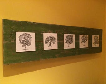 Tree sketches on barn wood